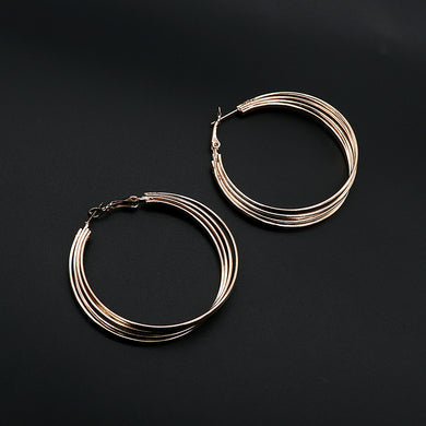 Fashion large golden circle hoop earrings (ER-5452)