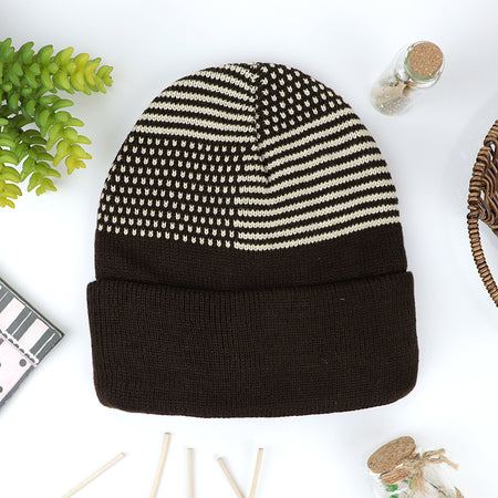 Jones Supreme Quality Fur Lined Striped fitted beanie Cap