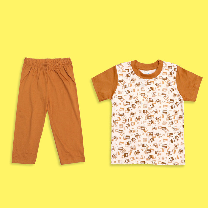 Kids all over Brown Boxed Printed Jersey Pajama Sets(LB-4016)