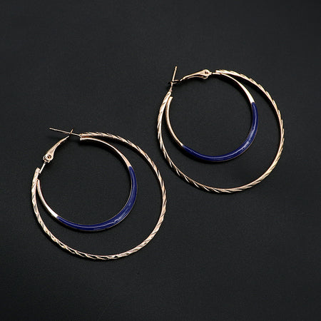 Fashion large golden circle hoop earrings