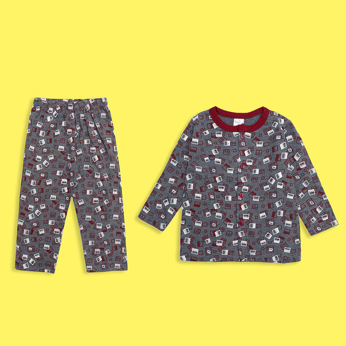 Kids all over Maroon Boxed Printed Jersey Pajama Sets  (LB-4020)