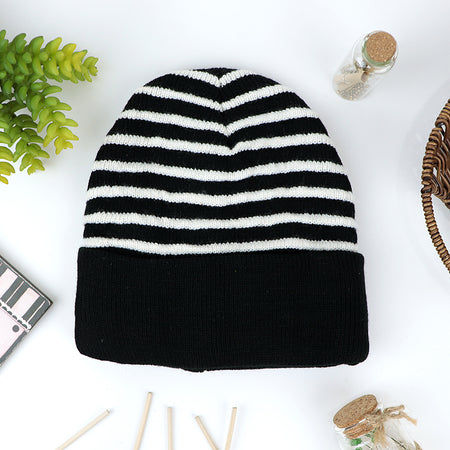 Malcom Supreme Quality Fur Lined Striped fitted beanie Cap