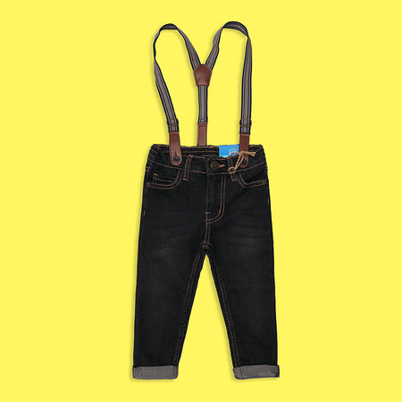 Kids Premium Quality Stretchy Jeans With Braces (KK-5251)
