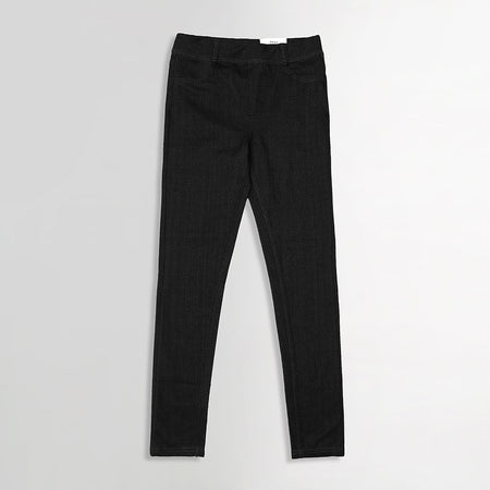 Girls High Waisted Super Stretchy Charcoal Jeggings (DK-5253)