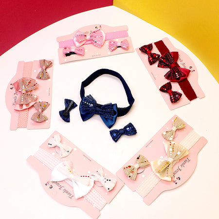 Pack of 3 Super Soft Push elastic Girls double Bow Headband & Alligator Pin Set