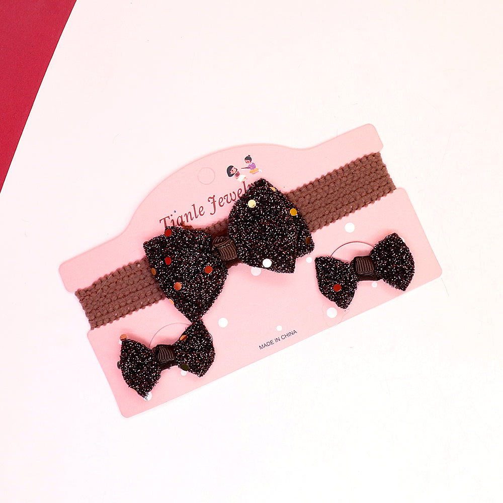 Pack of 3 Super Soft Push elastic Girls Shiny double Bow Headband & Alligator Pin Set