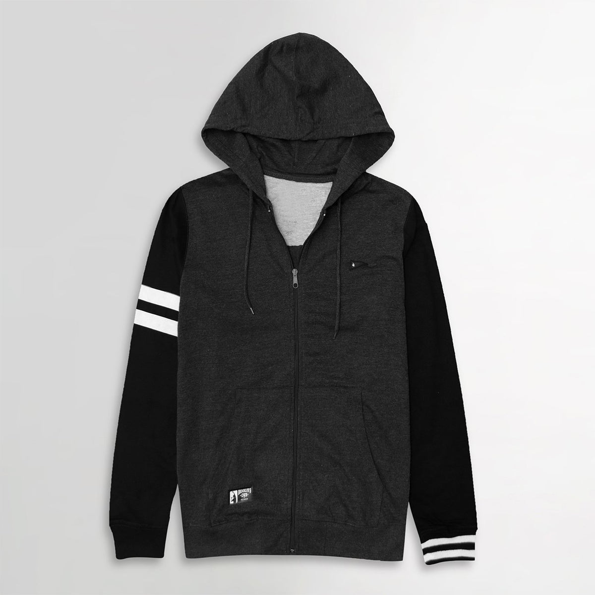 Men Signature Stripe Print & Left Chest Embroidery Zipper Hoodie (BK-11063)