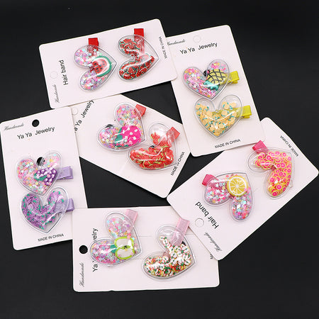Pack of 2 Heart Shaped Fruity filled Alligator Hair Pins