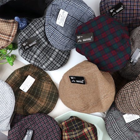 Tweed Woolen Blend Classic Checked Flat Cap