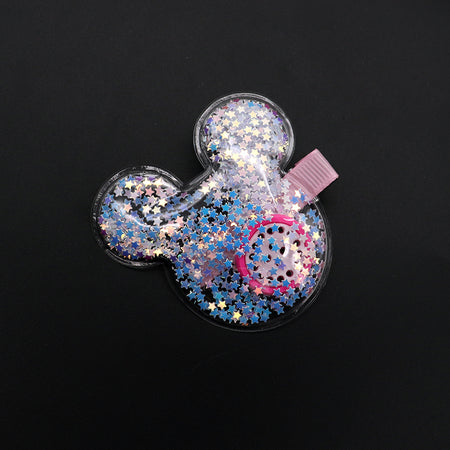 Micky Face Shaped Sparkle filled Alligator Hair Pins