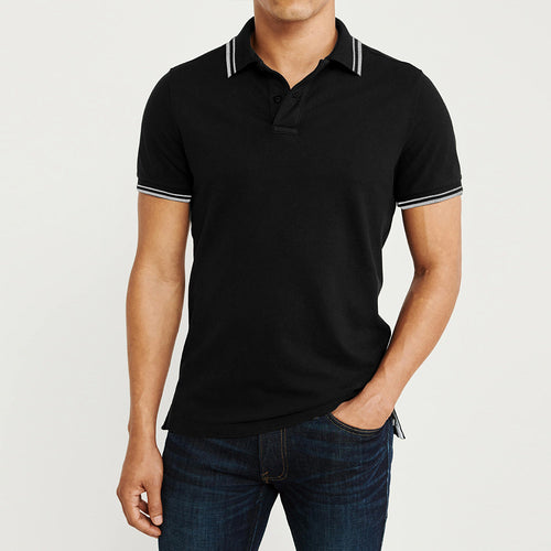 IDNTC Black Tipped Collar Polo Shirt  (ID-2338)