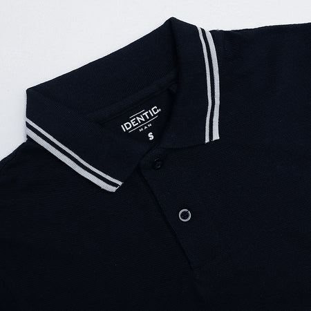 IDNTC Navy  Tipped Collar Polo Shirt (ID-2343)