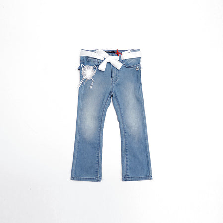 Girls Exclusive floral patch bell bottom Jeans (OM-2340)