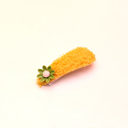 Fluffy Hair Clip with Flower Decoration