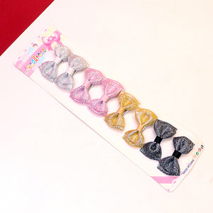 Pack of 8 Multi Colored Shiny Lurex Ribbon Bow alligator Hair Pins