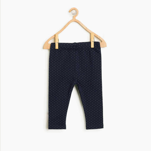 Girls Navy Imported All-Over Printed Cotton Jersey Legging (HM-11576)
