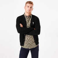 USP Black Men Button up Fleece Cardigan With Signature Embroidery  (US-10170)