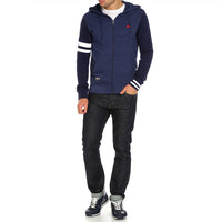 Men Signature Stripe Print & Left Chest Embroidery Zipper Hoodie (BK-11062)