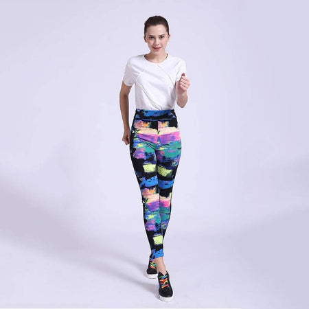 Abstract Color Print Compression Hi-Waist Tights (ZE-356)