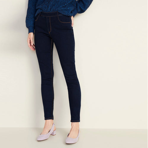 Girls High Waisted Super Stretchy Navy Jeggings (DK-5275)