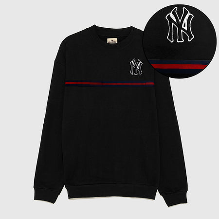 Hlstr Black 3D Embroidered Sweatshirt (HO-1535)