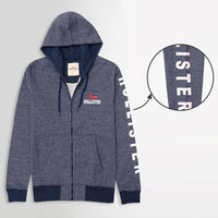 Stylish Birds eye Striped Graphic Zipper Fleece Hoodie (HO-10131)