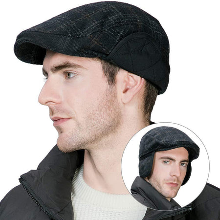 Camper Tweed Woolen Blend Classic Checked Padded Flat Cap