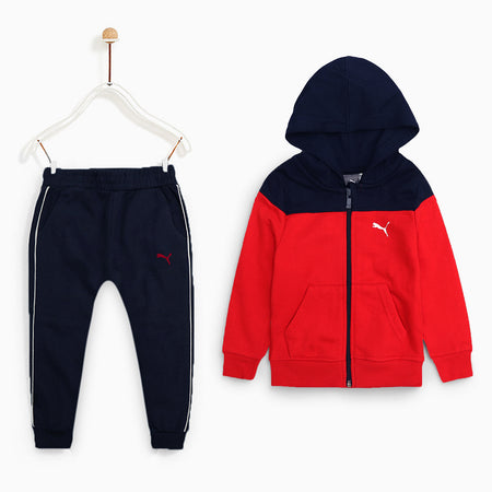 PMA Kids NAVY/ Red  Color Block Jogging Suite (PU-1789)