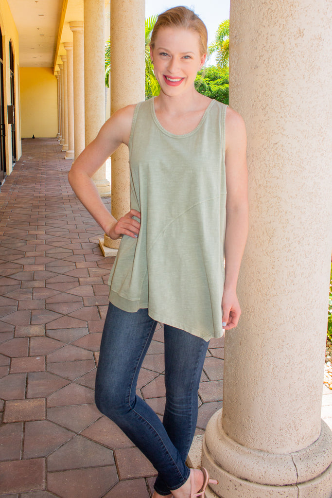 Sleeveless Mineral Washed Top