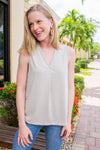 Vneck Pleated Top