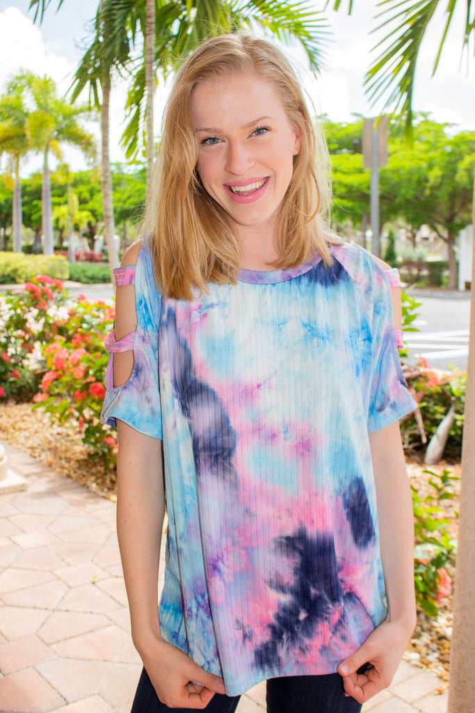 Tie Dye Cut Out Shoulder Ribbed Top