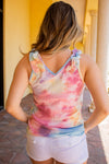 Tie Dye Ruffled Shoulder Top
