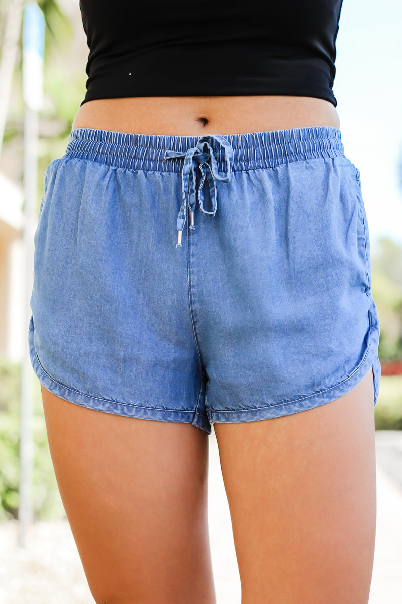 Falling For You Tencel Denim Shorts