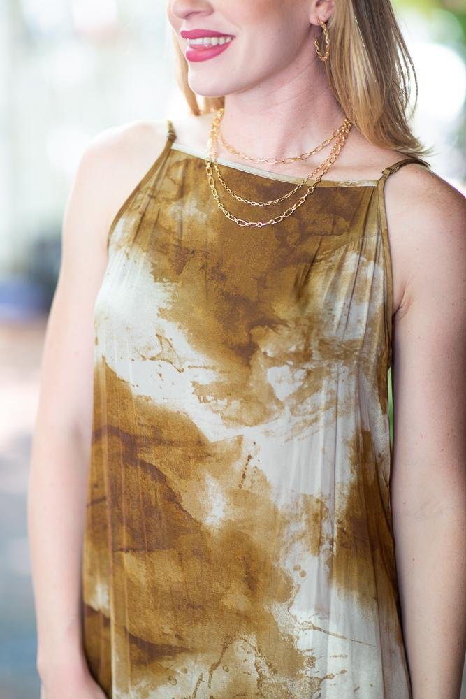 All For You Tie Dye Satin Slip Dress - Hollie's Boutique