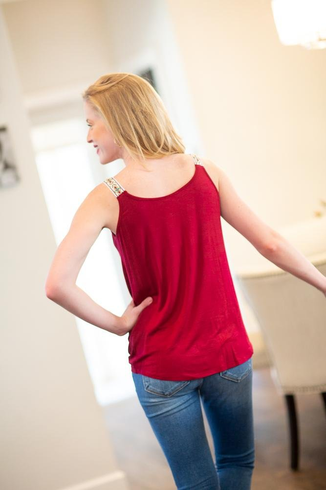 All The Love Burgundy Twist Front Tank - Hollie's Boutique