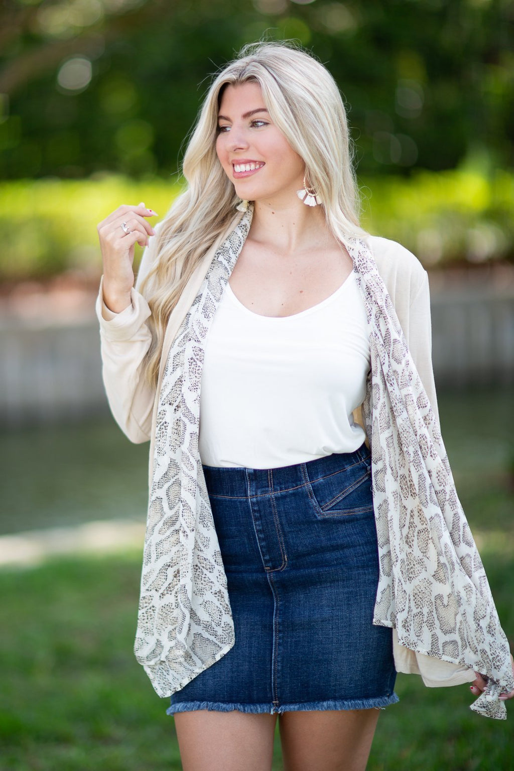Around For A Good Time Animal Print Cardigan Sand - Hollie's Boutique