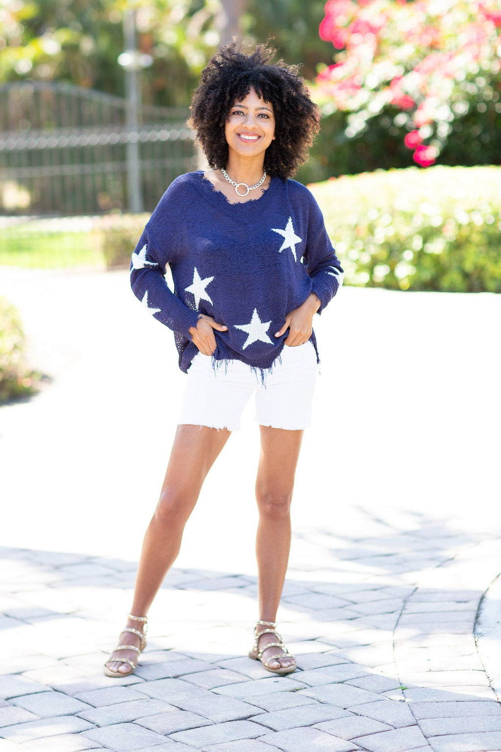 As Long As You Are Here Frayed Edge Star Sweater-Navy - Hollie's Boutique