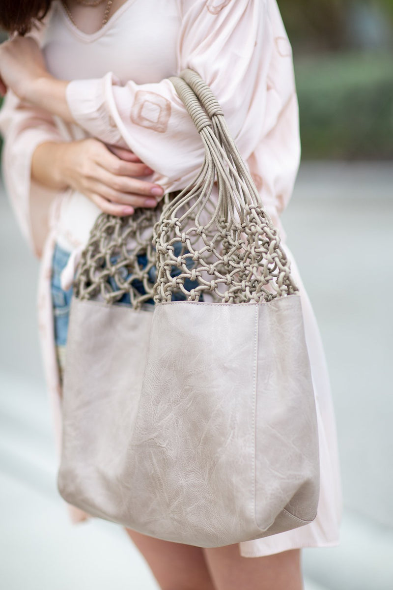 Athena Tote in Sand - Hollie's Boutique