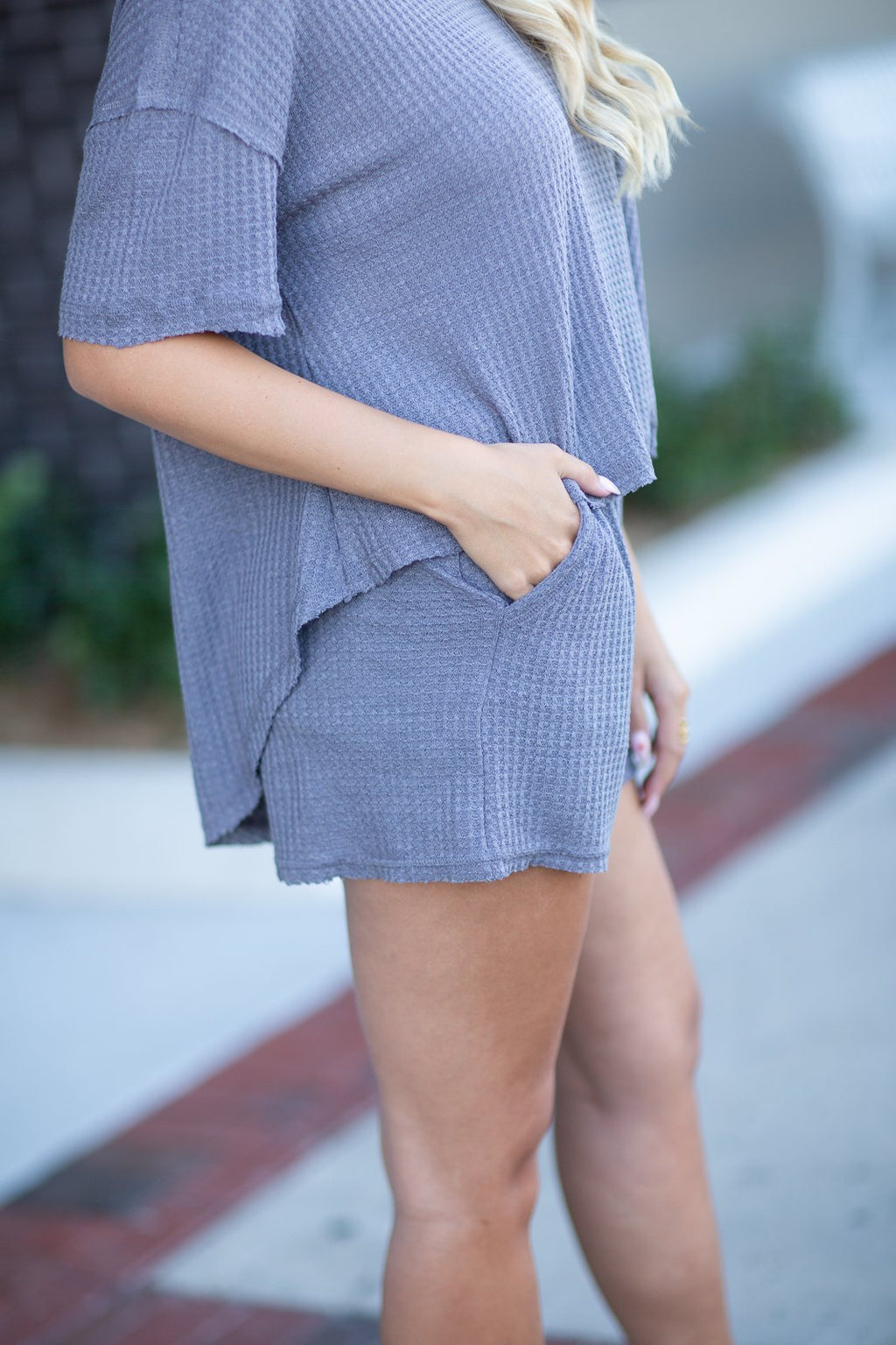 Being Honest Waffle Knit Shorts Charcoal - Hollie's Boutique
