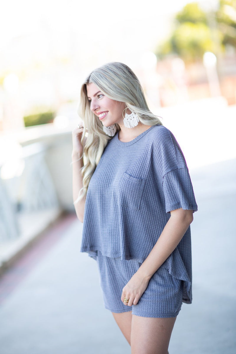 Being Honest Waffle Knit Top Charcoal - Hollie's Boutique