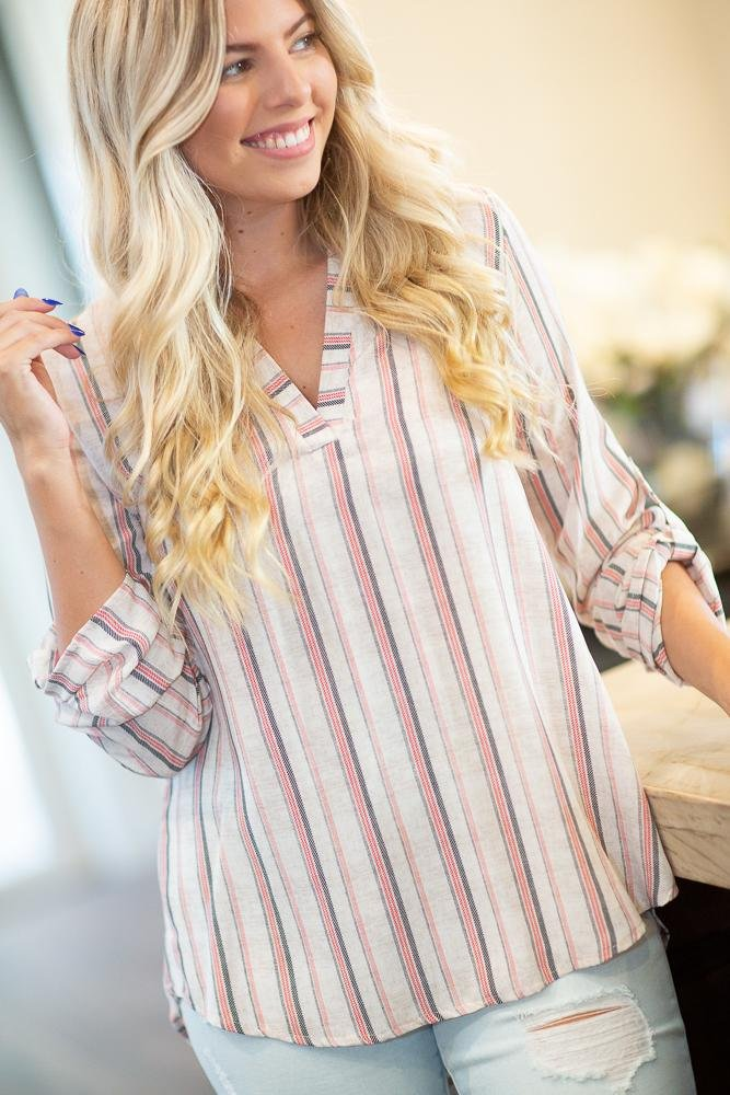 Better Now Striped Collar Shirt - Hollie's Boutique