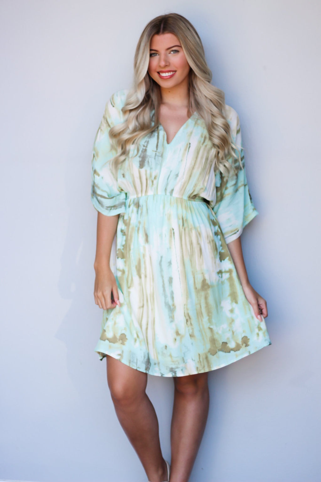 Big Plans Kimono Sleeve Tie Dye Dress - Hollie's Boutique
