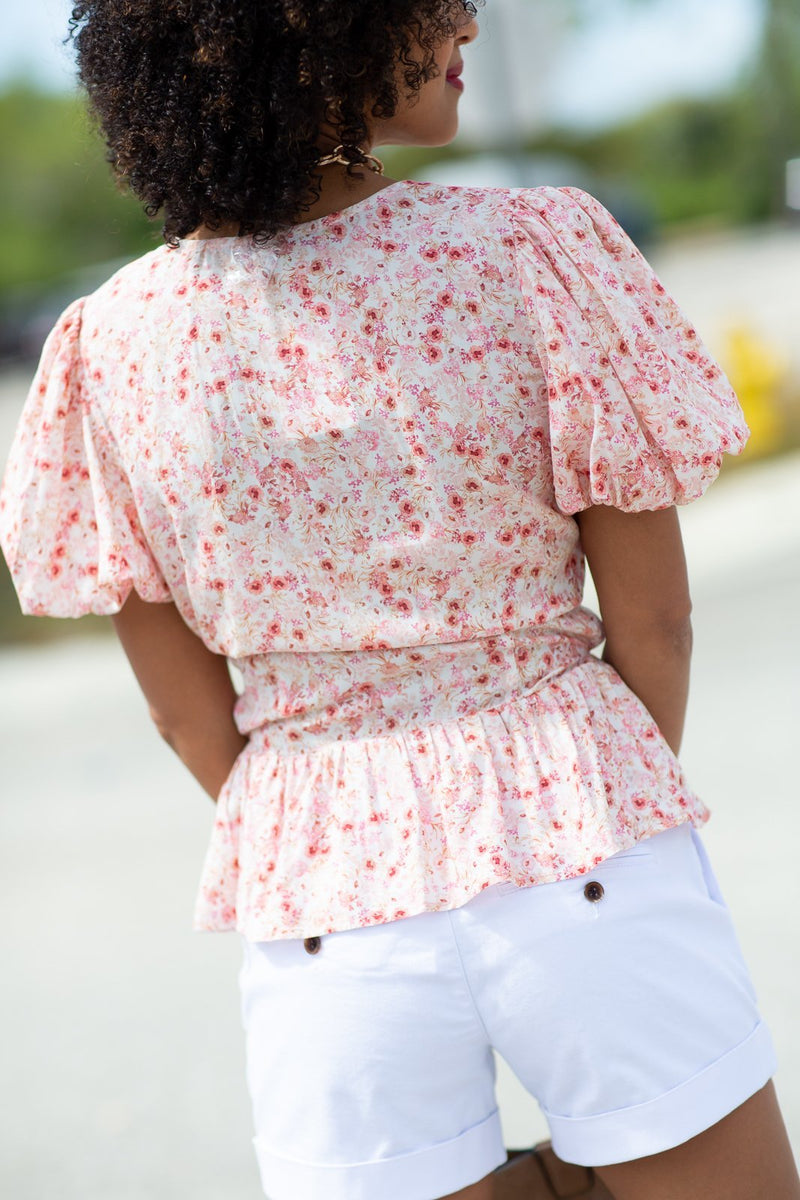 Botanical Ditsy Button Detail Shirt - Hollie's Boutique