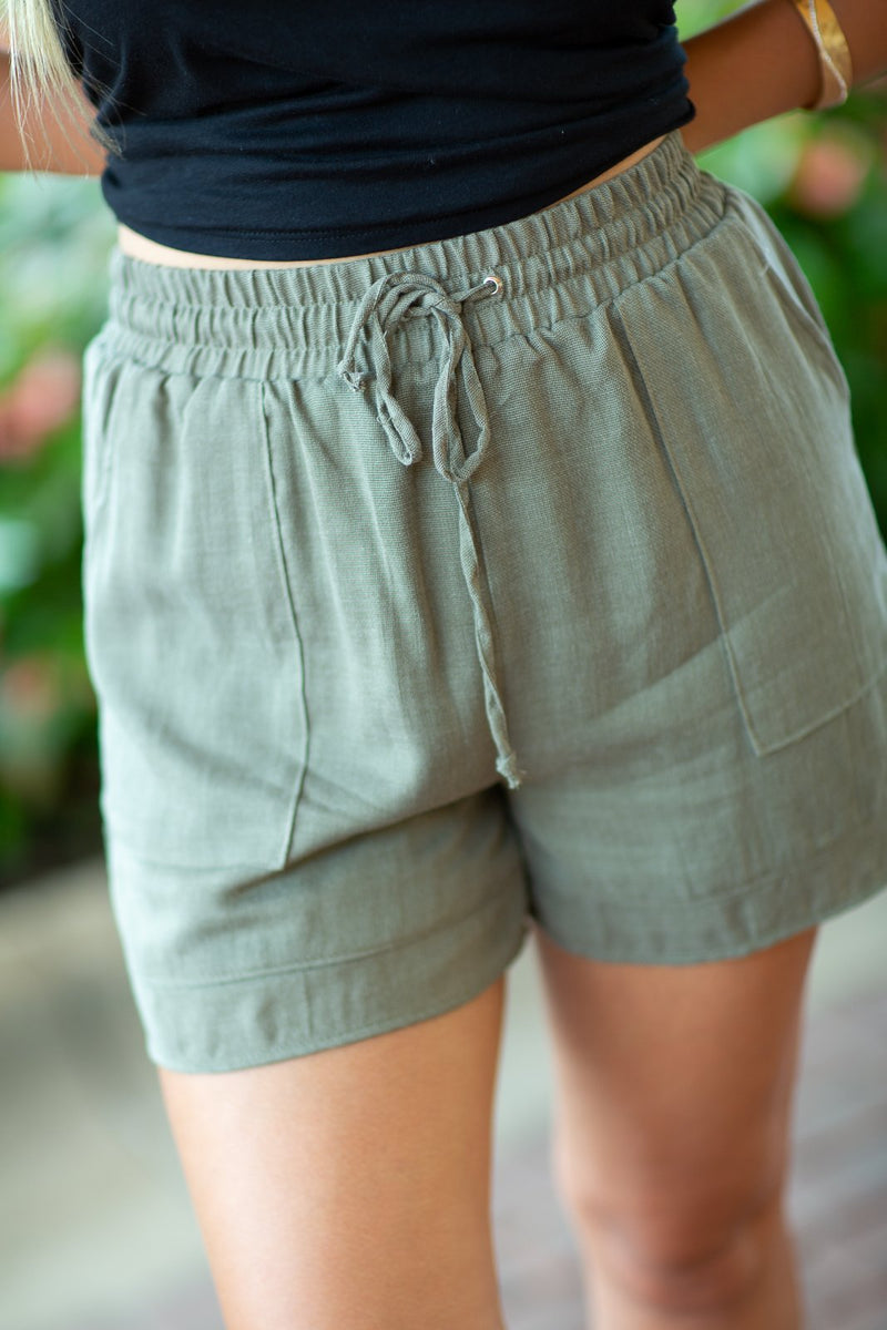 Call Me Drawstring Linen Shorts - Hollie's Boutique