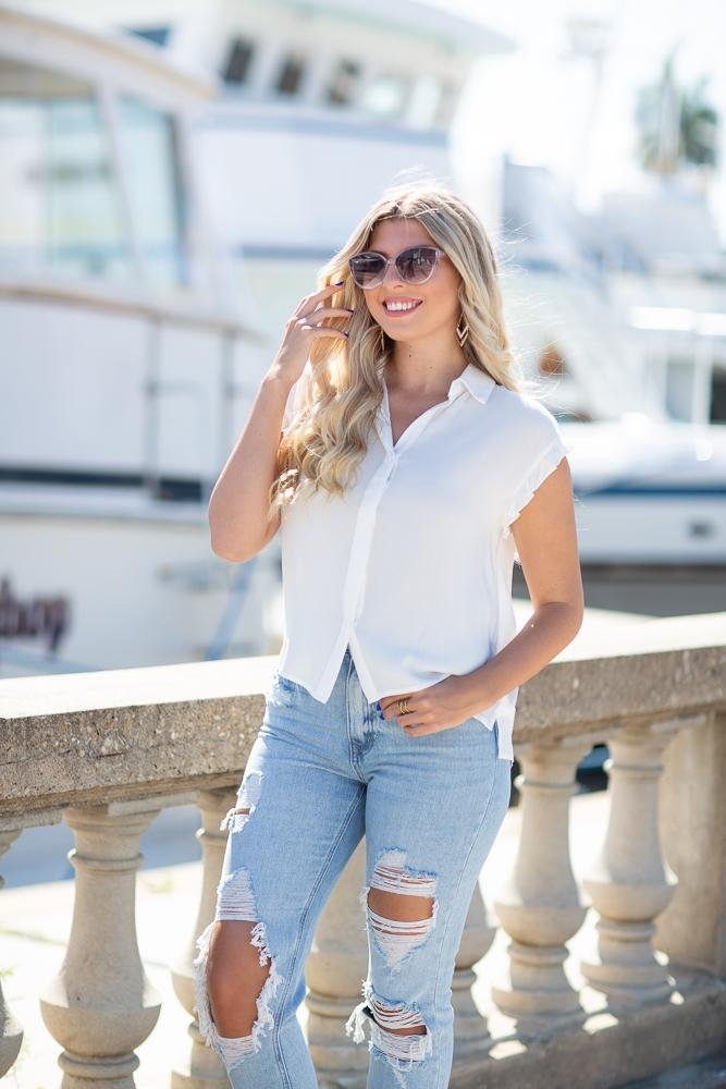 Charmed By You Button Down Top - Hollie's Boutique