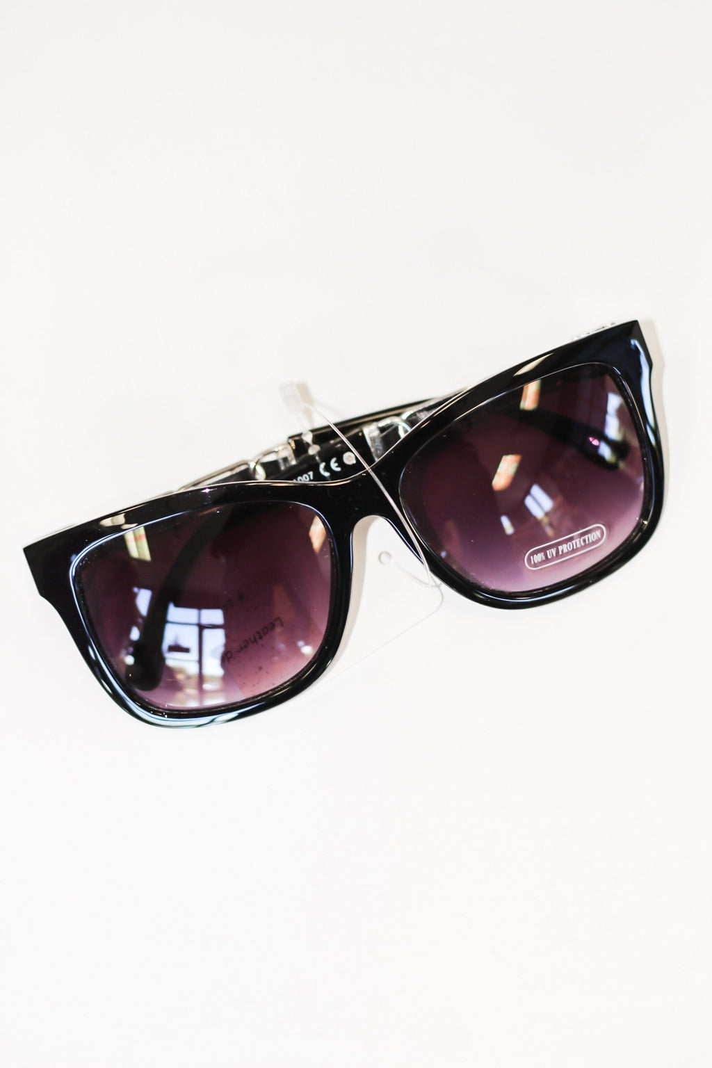 Classic Square Sunglasses With Leather Detailing - Hollie's Boutique