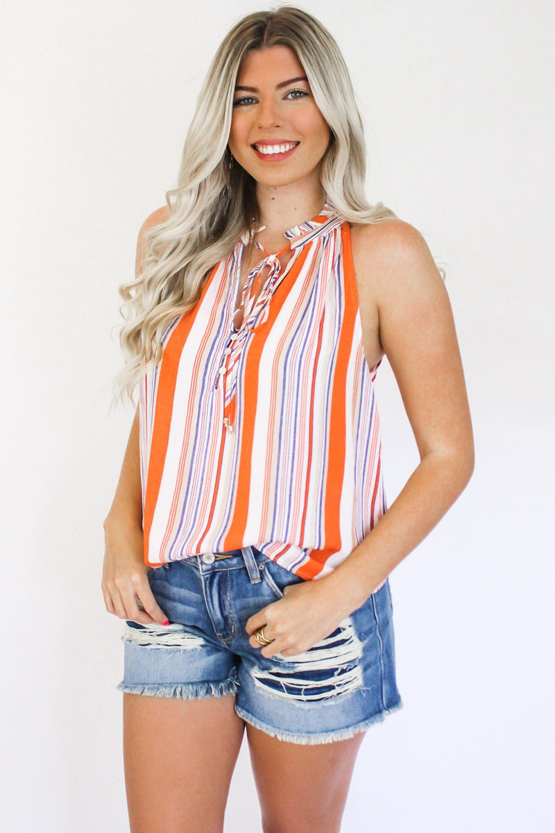 Complete My Heart Ruffle Button Front Halter Top - Hollie's Boutique