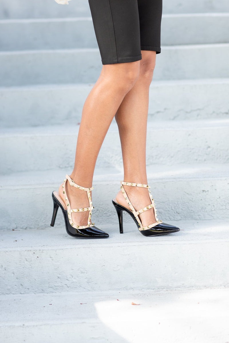 Dance With Me Studded Heels - Hollie's Boutique