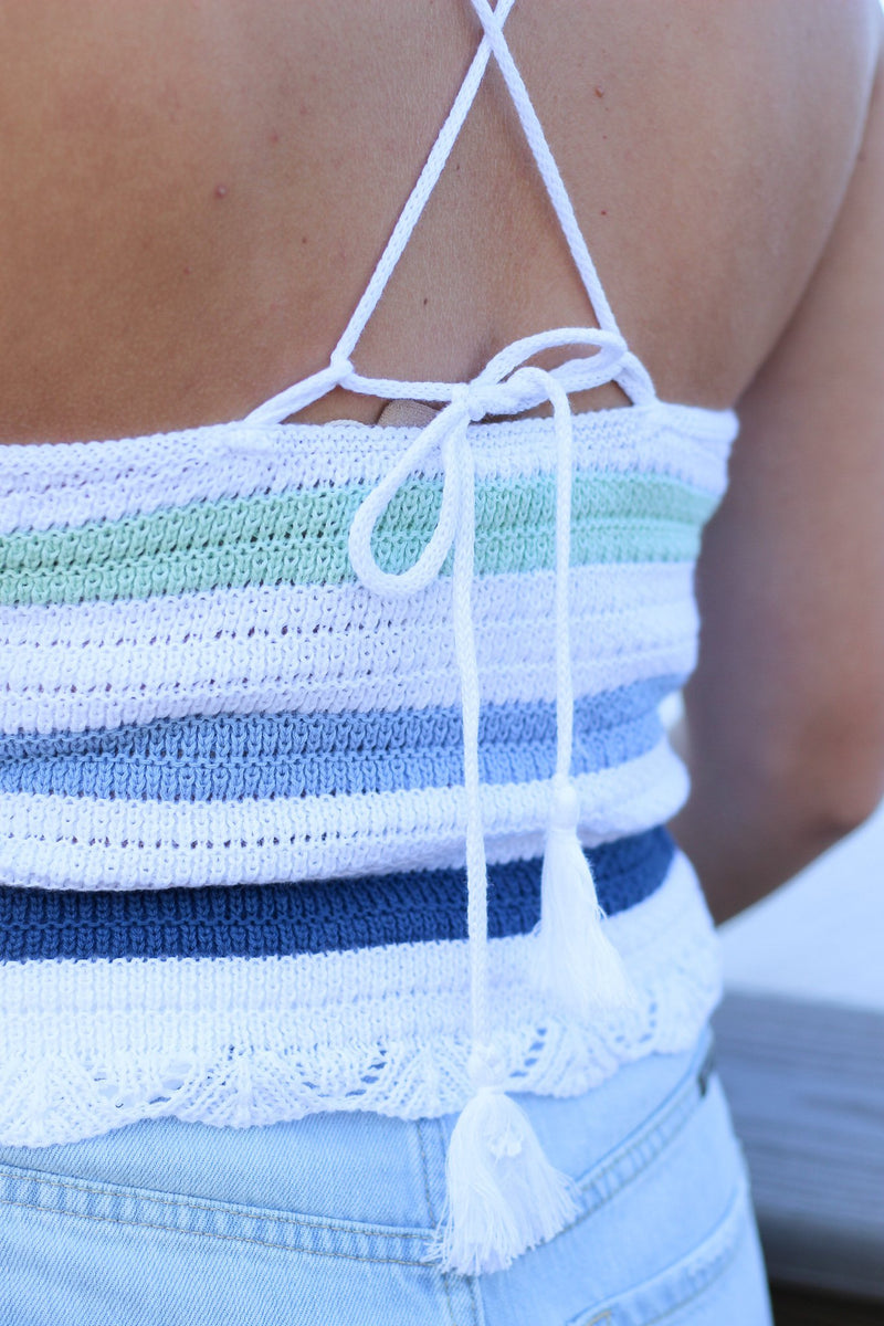 Day or Night Rainbow Halter Sweater tank - Hollie's Boutique