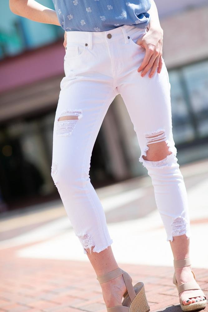 Destroyed Skinny Boyfriend Jeans In White - Hollie's Boutique